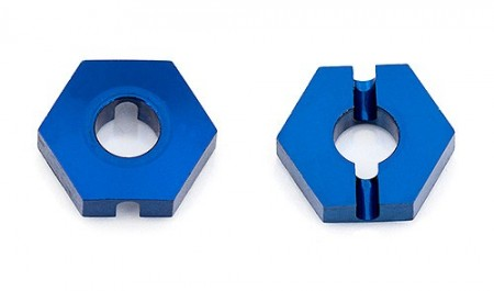 B64 Front Wheel Hexes, 12 mm, blue aluminum (3.5mm thick)